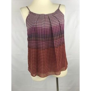 CAbi #555 Houndstooth Pleated Cami Tank Red Multi